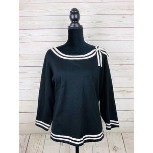 Black Cream Bow Collar Beas Trim Sweater 3X